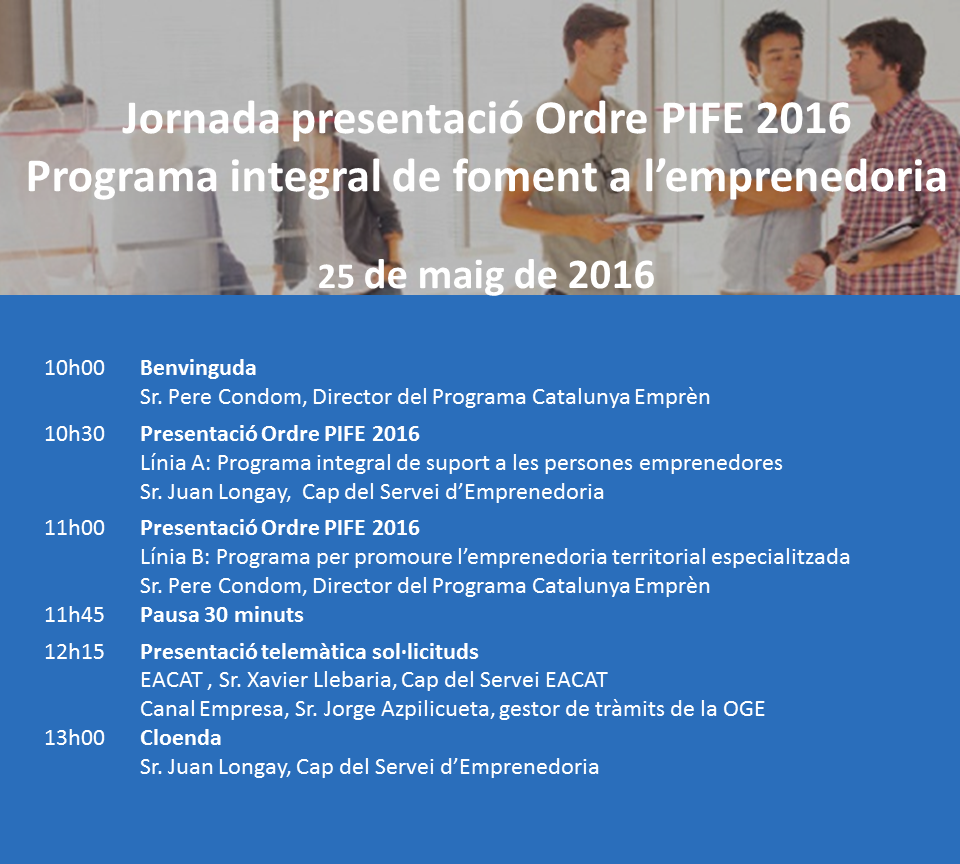 Programa de la Jornada de presentació del PIFE 2016