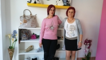 Montse Sanchez and Sara Solias in their shoe shop