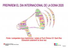 Cartell per a preparar el Dia Internacional de les Dones 2020 a l'Òmnia Casal Cívic Sant Roc