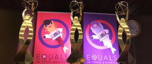 Trophies and posters of the EQUALS in Tech Awards