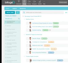 Captura de pantalla de la plataforma Billage