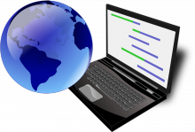 Ilustración de un ordenador y el globo terráqueo