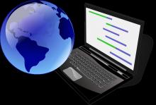 Il·lustració d'un ordinador i un globus terraqüi