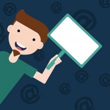 Il·lustració d'un noi amb una pancarta-pantalla a la mà