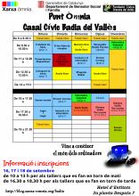 Cartell amb els horaris del Punt Òmnia Badia del Vallès