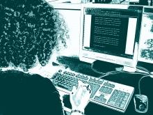 Una dona treballant amb un ordinador