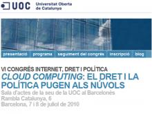 Imatge de la plana web del VI Congrés Internet, dret i politica: Cloud Computing