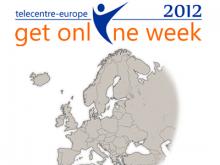 Logotip del Get Online Week 2012 i mapa d'Europa