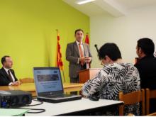 Carles Flamerich a la inauguració del centre de coworking Zona Líquida de Riba-roja d'Ebre