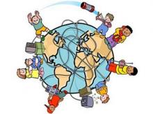 Dibuix de nens i nenes jugant al voltant del planeta Terra