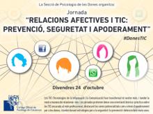 Portada del díptic de la jornada Relacions afectives i TIC: Prevenció, seguretat i apoderament