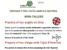 Cartell dels mini-tallers de juliol a Palau Falguera