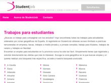 Captura de la portal web StudentJob
