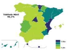 """Gràfica de l'informe """"Sociedad en red 2013"""" sobre llars amb telèfon mòbil"""