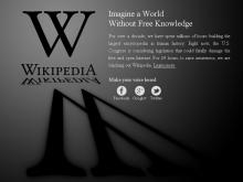 Portada de la Wikipedia en anglès el 18 de gener de 2012 per la mobilització contra SOPA