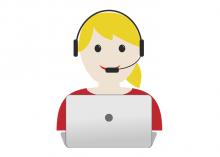 Icona d'una dona atenen algú per telèfon