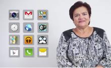 Fotograma de un video sobre el uso de teléfonos inteligentes para personas mayores
