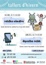 Cartel de los talleres de robótica educativa y dispositivos móviles del Òmnia PES La Mina