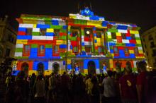 Mapping en la façana de l'Ajuntament de Barcelona
