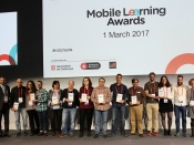 Foto de grup dels guardonats/des als mSchools Mobile Learning Awards 2017