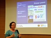 Lucía Frechiné rebent el primer premi Bitbot pel treball `Joc, Lectura i... Scratch`