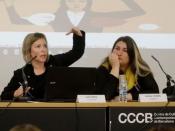Laia Serra i Núria Vergés en la jornada `Ciberviolències i participació política de les dones`