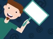 Il·lustració d`un noi amb una pancarta-pantalla a la mà