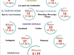 Cartell dels cursos del Punt TIC Biblioteca Montserrat Roig de Sant Feliu de Llobregat