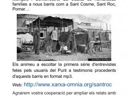 Cartell del projecte de l`Òmnia CC Sant Roc de recuperació de memòria històrica dels barris de barraques