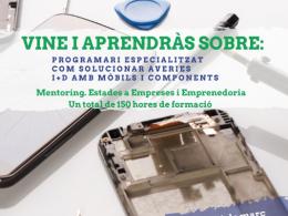 Cartell del curs de formació en reparació de mòbils I+D per a joves