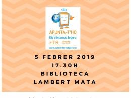 Cartell de l`activitat familiar a Ripoll, pel Dia de la Internet Segura 2019