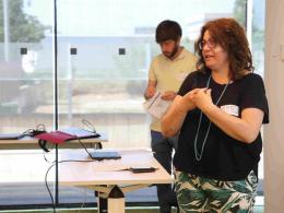Susana Ferrer, cap de secció d'Innovació i Promoció Empresarial i Pau Llauger, tècnic AODL en tecnologies digitals a la JdIS 2019