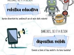 Cartell dels tallers de robòtica educativa i dispositius mòbils de l`Òmnia PES La Mina