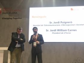 Jordi Puigneró i Jordi William Carnes presenten l'Observatori TIC de Catalunya al MWC18